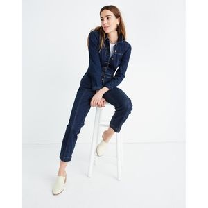 Madewell Denim Puff-Sleeve Jumpsuit Size 0 NWT